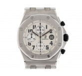 Audemars Piguet Royal Oak Offshore Safari Chronograph Stahl Automatik Armband Leder 44mm UVP 25.100.- Box&Pap. Full Set wie Neu