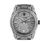 Rolex Oyster Perpetual Full Diamond 15ct Stahl Automatik 39mm Ref.114300 Box&Pap. Ungetragen