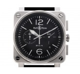 Bell & Ross Aviation BR 03-94 Stahl Automatik Chronograph Armband Leder 42x42 mm UVP 4.500,- Ungetragen