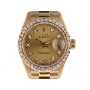 Rolex Datejust Lady 18kt Gelbgold Diamond Automatik Präsident Armband 26mm