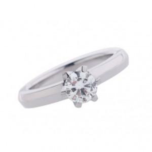 Ring Solitär Krappenfassung 18kt Weißgold Diamond 0,87ct