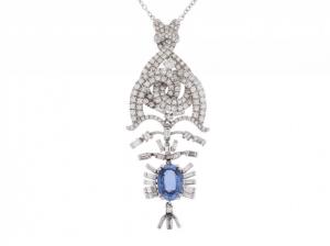 Collier 18kt Weißgold Diamond Saphir Handarbeit