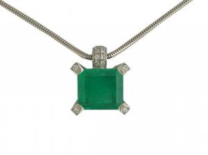 Collier 18kt Weißgold Smaragd 3,35ct Diamond