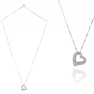 Herzkette Weissgold Geschenk zum Valentinstag