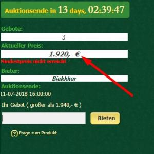 watch.de Auktion aktuelles Gebot mit Hinweis auf Mindestpreis