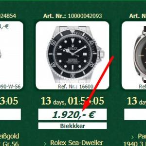 watch.de Online-Auktion aktuelles Gebot