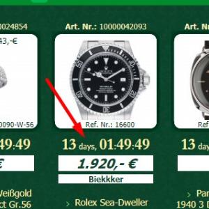watch.de Auktion verbleibende Laufzeit