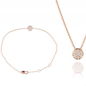 Schmuckset: Armband und Halskette in Rotgold mit Brillanten