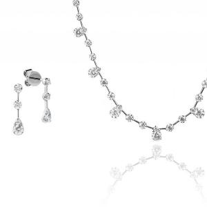 Schmuckset: Ohrschmuck und Halskette 18kt Weißgold Diamond