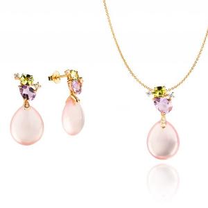 Schmuckset: Ohrstecker und Halskette Anhänger 18kt Rotgold Diamond Rosenquarz
