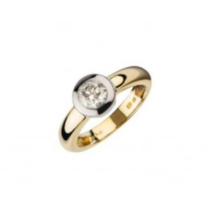 Diamantring aus Weißgold und Gelbgold