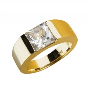 Designer Ring 14kt Gelbgold mit Bergkristall