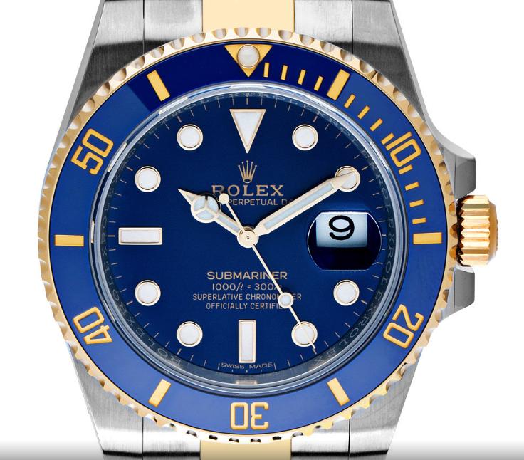 Farbenfrohe Sommeruhr: Rolex Submariner - Blau mit Gelbgold