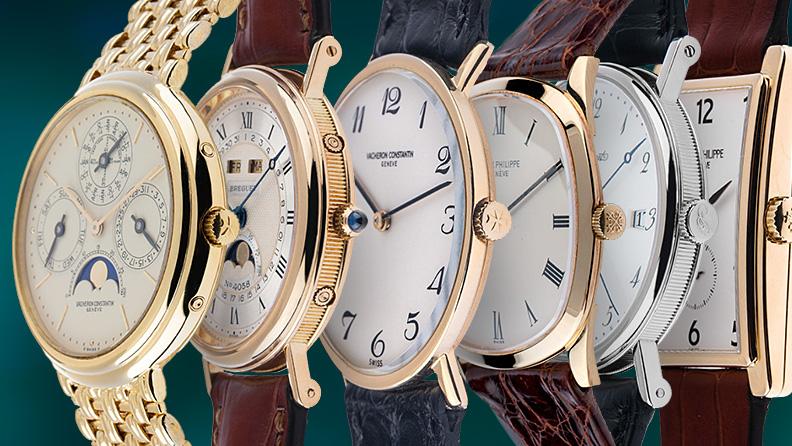 Flache Uhren der Marken Breguet, Patek Philippe und Vacheron Constantin