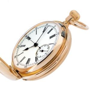 Taschenuhr Savonette Viertelstundenrepetition, 18kt Gelbgold Handaufzug Chronograph, Vintage Bj.1900