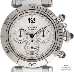 Cartier Pasha Stahl Automatik Chronograph Glasboden Armband Stahl, Bj. 2000