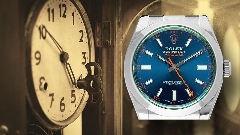 Uhr mit Schlüsselaufzug und Automatikuhr Rolex Oyster Perpetual