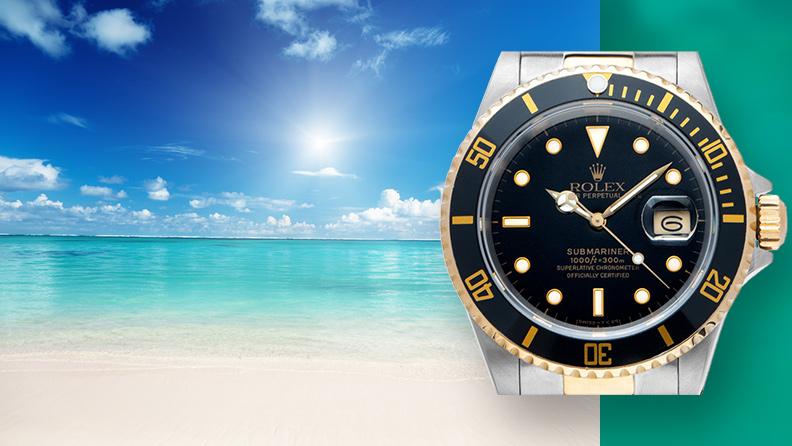 Sonne, Sand, Wasser mit mechanischen Uhren