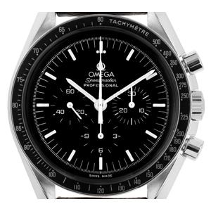 Omega Speedmaster Professional Moonwatch mit Lederarmband (Gewicht der Uhr inkl. Armband 85 g)