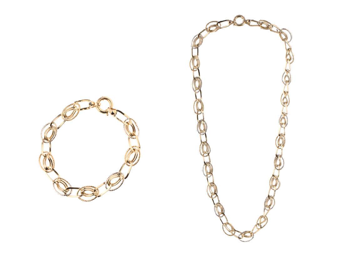 Gliederkette & Armband, Gelbgold/Weißgold