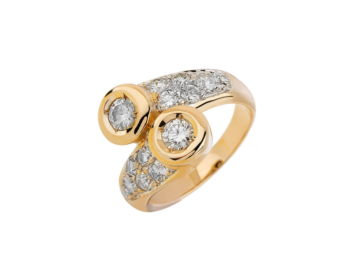 Ring, 14ct Gelbgold/Diamanten