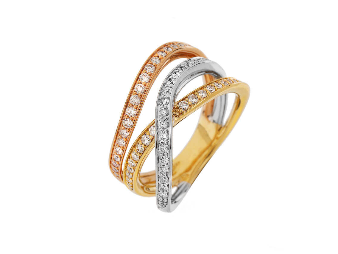 Ring Tricolor mit Diamanten