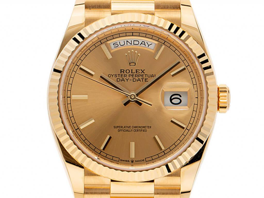 Sommeruhr: Rolex Day Date Gelbgold