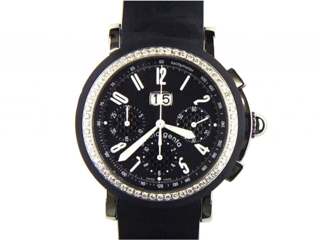 Gerald Genta Sport Chronograph Diamond Armband Kautschuk 41mm Ungetragen