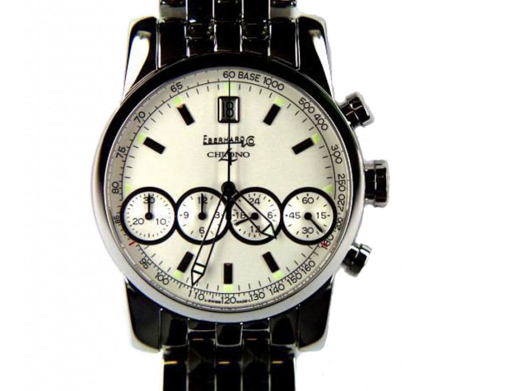 Eberhard & Co Chrono 4 Stahl Chronograph Armband Stahl 40mm UVP 4.650,- Neu