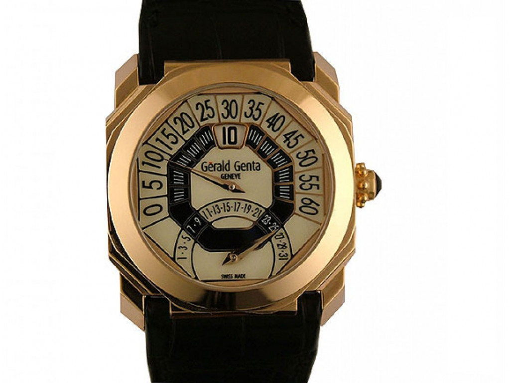Gerald Genta Octa Biretro 18kt Roségold Automatik Armband Leder 42mm Ungetragen