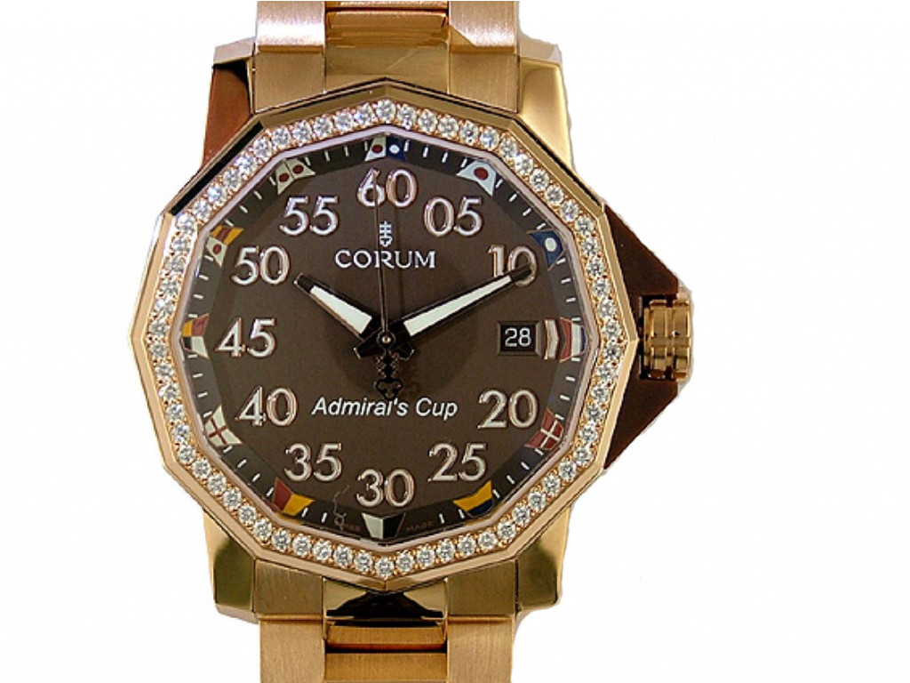 Corum Admiral's Cup Competition 18kt Roségold Diamond Automatik 40mm UVP 40.500,- Neu