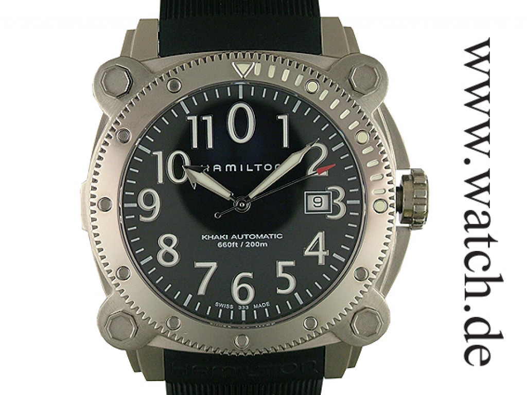 Hamilton Khaki Navi Belowzero Diver Automatic Kautschuk 45mm UVP 1150.- UNGETRAGEN