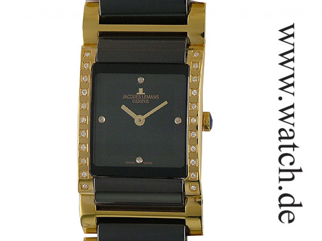 Jacques Lemans Gloria Gelbgold/Keramik Diamond 30x25mm UVP 990.- N E U