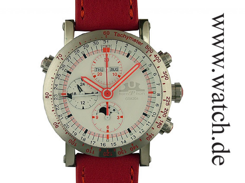 Temption Chronograph CGK204 Automatic Red Vollkalender Mondphase 43mm Neu