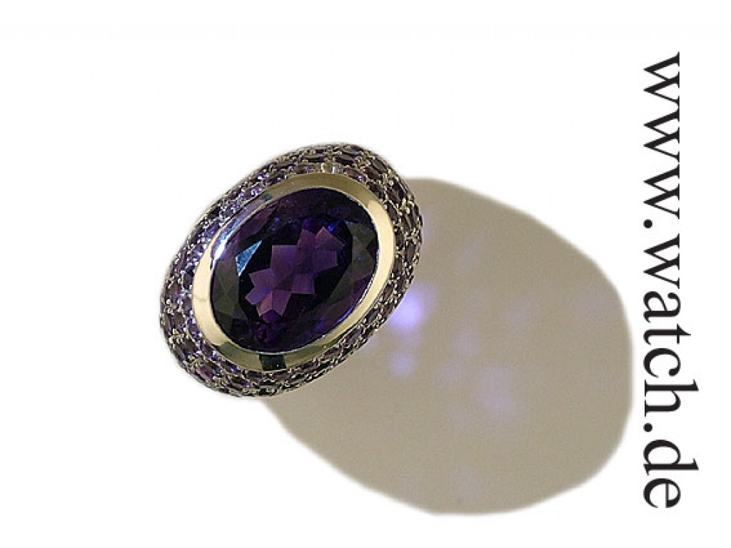 Ring Amethyst 18 kt. Weißgold poliert und 1 Amethyst. 12 ct. und 106 Amethyste UVP 2999,- N E U