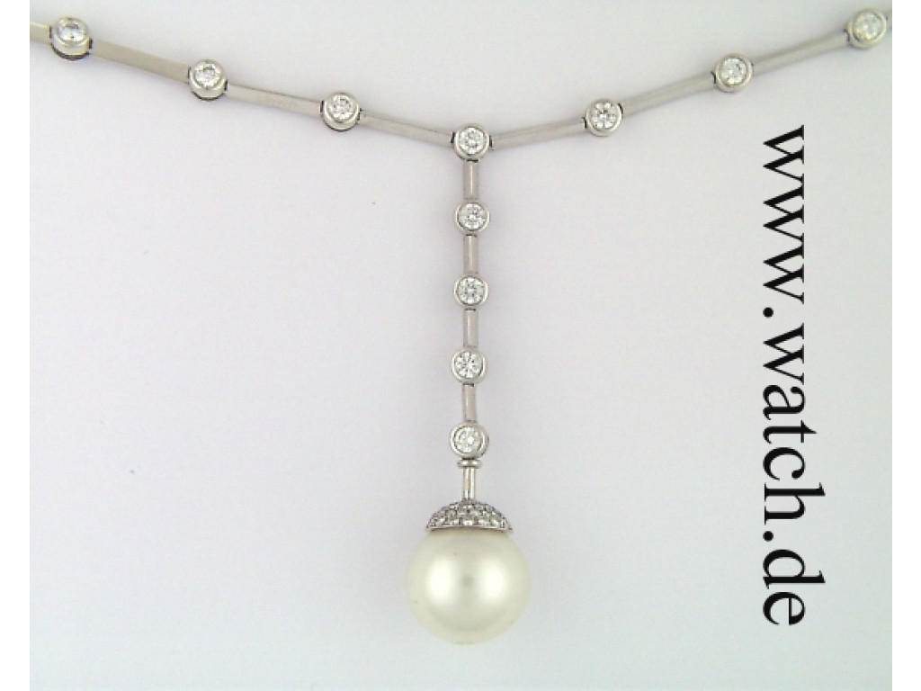 "Perlcollier ""Y"" Südseeperle 15mm Weißgold Diamond UVP 13990.- N E U"