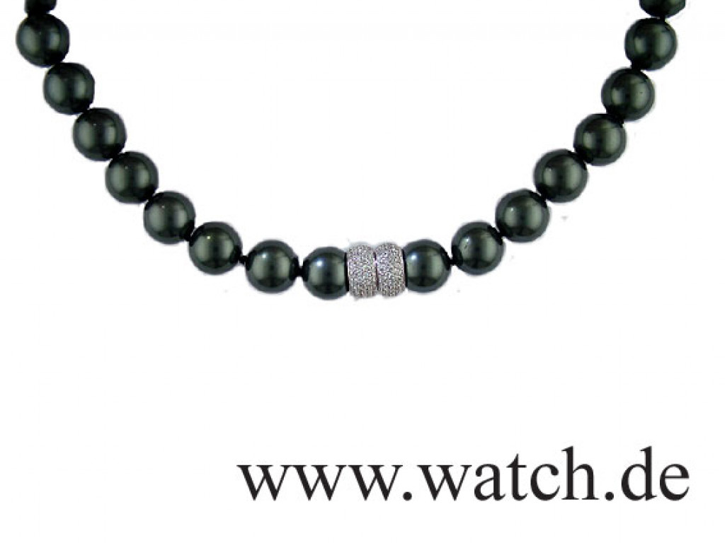 Collier Tahiti Muschelkern Perlen 14mm Silber UVP 999.- N E U