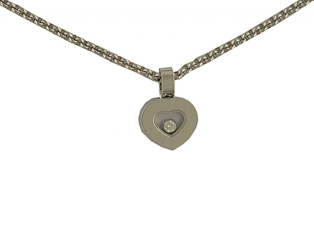 Chopard Happy Diamond Anhänger mit Halskette und 1 Brillant 18kt Weißgold UVP 1.700,- Ungetragen