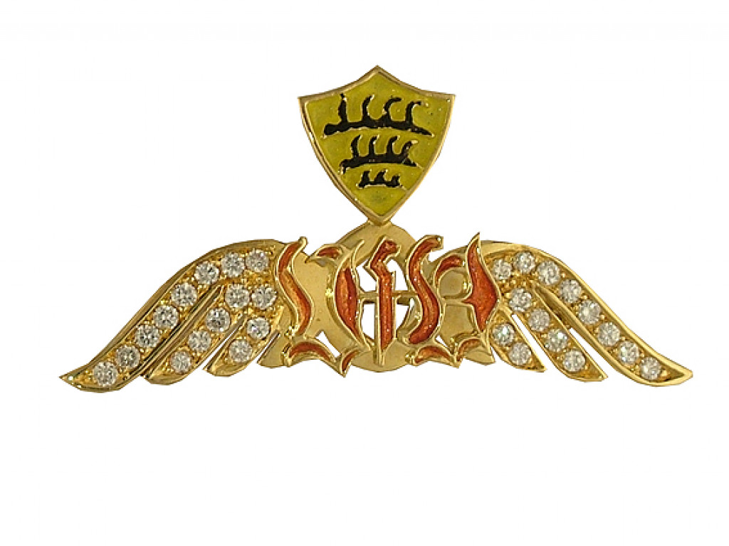 Anstecknadel Initialen Gelbgold Diamond 0,68ct Handarbeit Neu mit Zertifikat über 3.480,-€