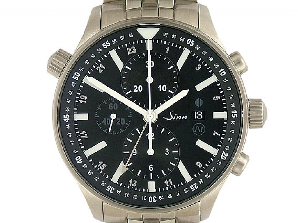 Sinn Fliegerchronograph 900 Stahl Tegiment Automatik Chronograph Armband Stahl 44mm Box&Pap. Full Set Neu mit Zertifikat über 3.600,-€