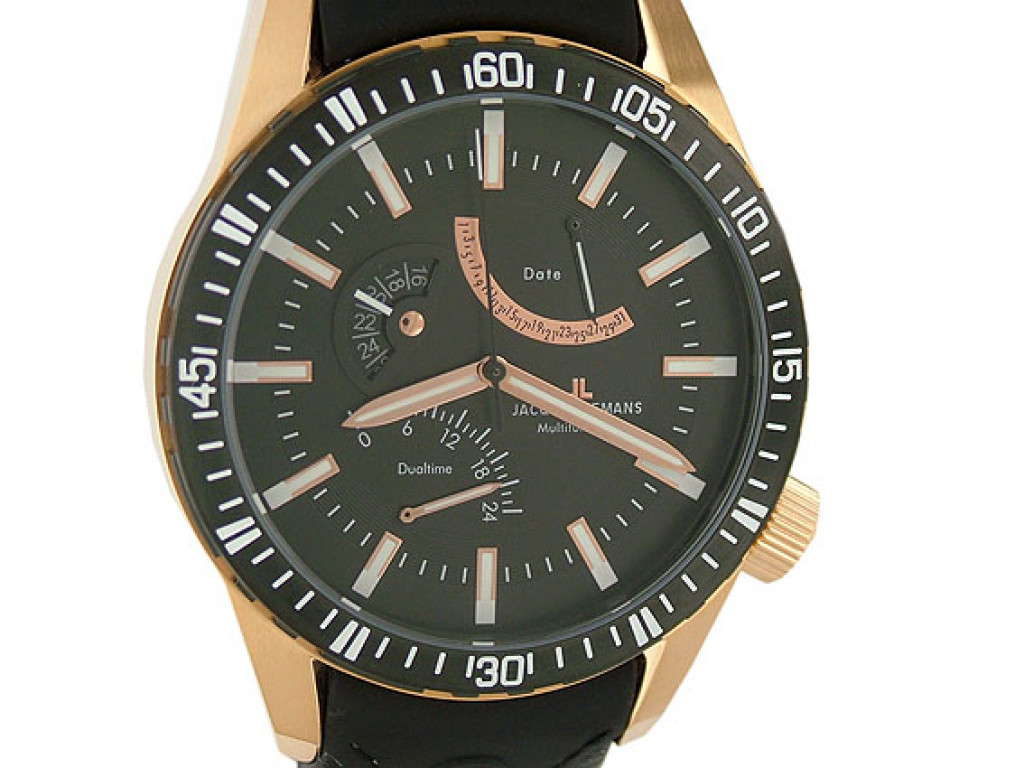Jacques Lemans Multifunction Dualtime Date Roségold 50 mm UVP 299.- N E U