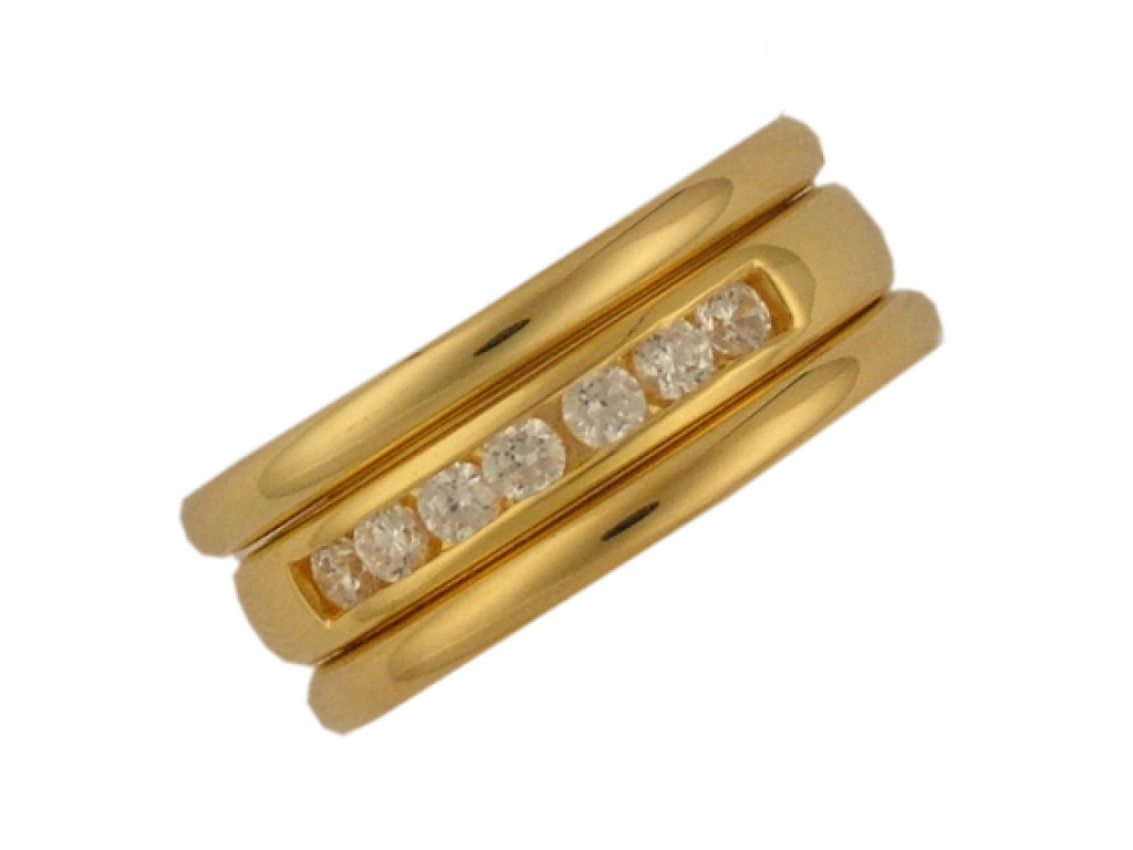 Peter Heim Ring Memoire Gelbgold Diamond mit zwei Beisteckringen 0,42ct UVP 4240.- N E U