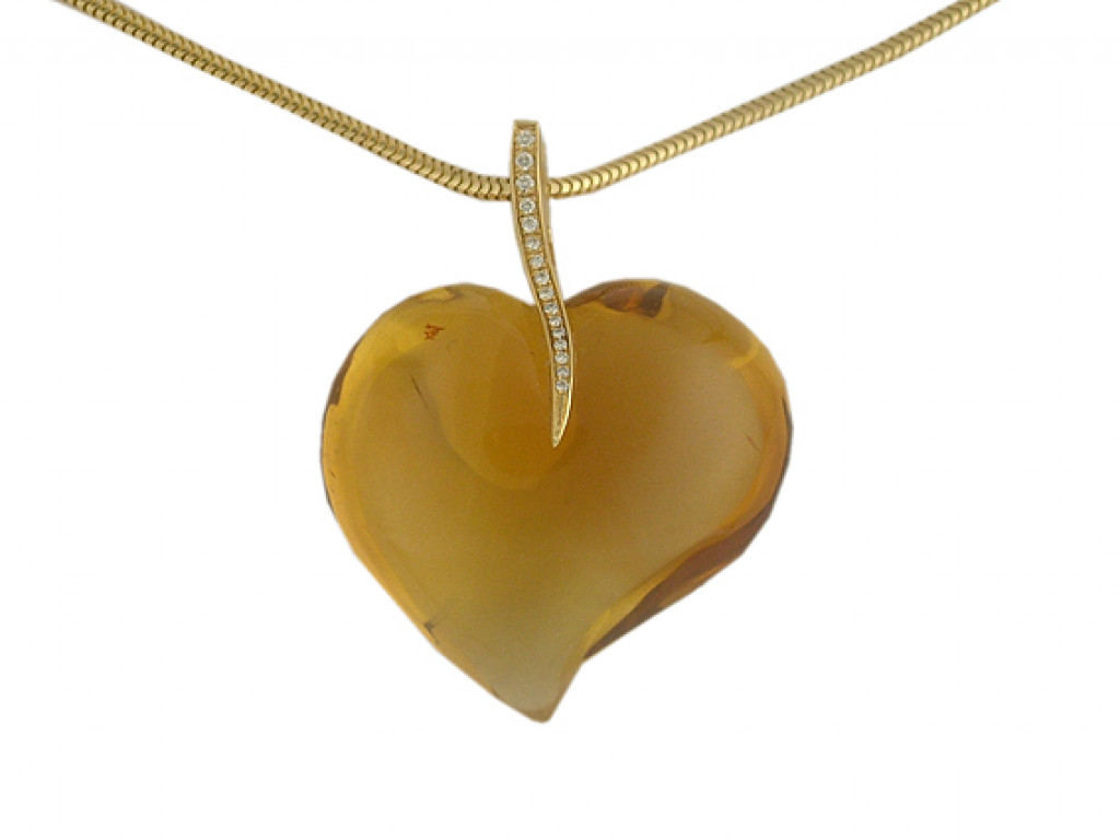 Collier Gelbgold mit Anhänger Herz Citrin Diamond UVP 2550.- N E U