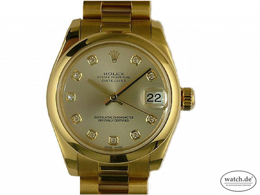 Rolex Datejust Medium Gelbgold Diamond Automatik Armband Präsident 31mm Ref.178248 Ungetragen