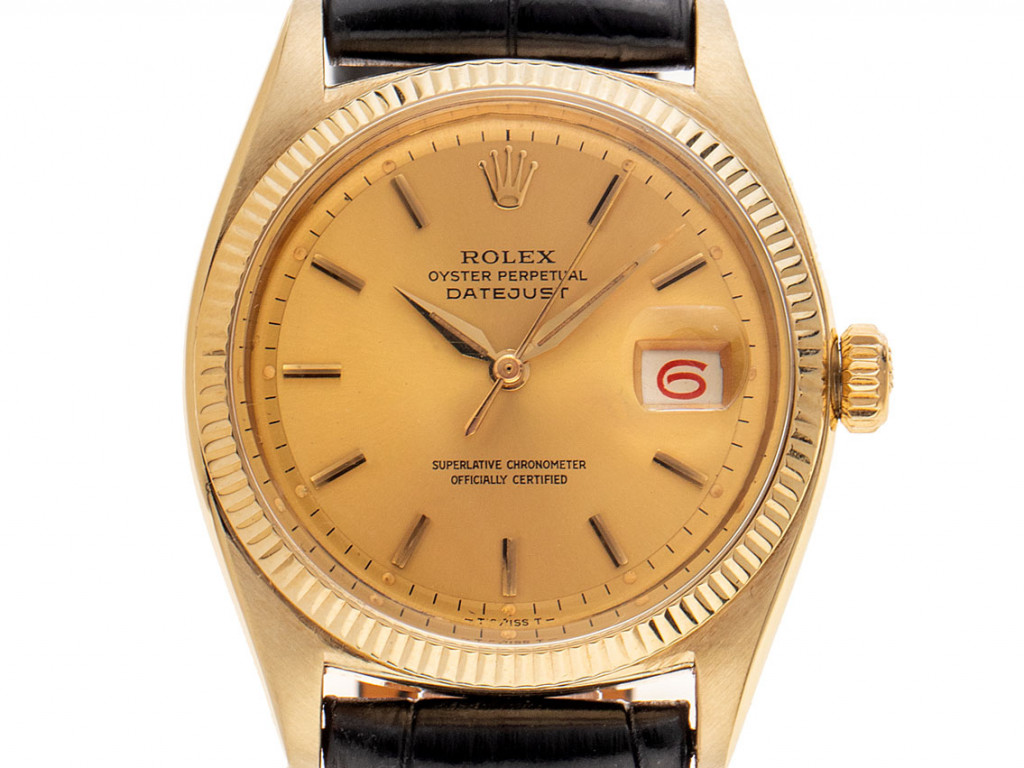 Rolex Datejust Roulette 9kt Gelbgold Automatik Armband Leder 36mm open 6/9 Ref.6605 Vintage Bj.1966 mit Zertifikat über 18.500,-€