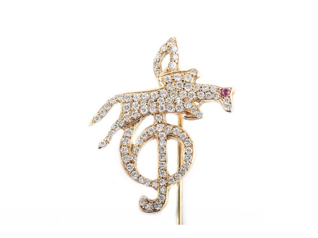 """Anstecknadel """"Pavarotti"""" Gelbgold Diamond Limitiert UVP 1.895,-"""
