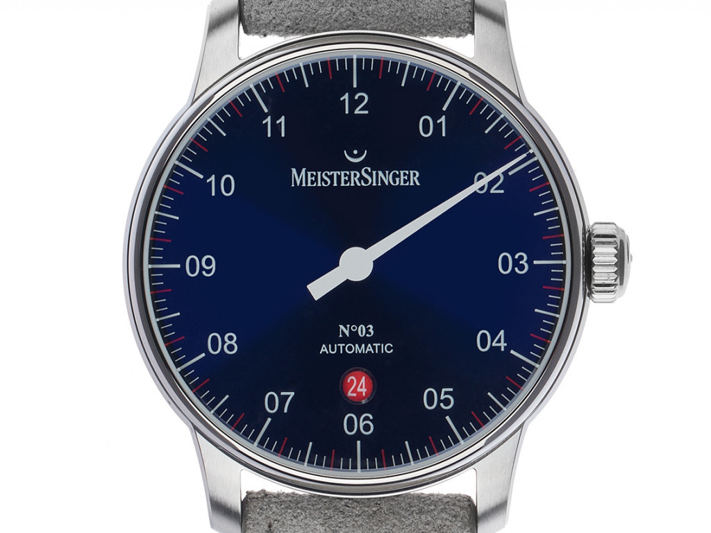 Meistersinger No.3 Einzeigeruhr Stahl Automatik Armband Leder 40mm Ref.DM908 Box&Pap. Full Set Neu mit Zertifikat über 1.649,-€