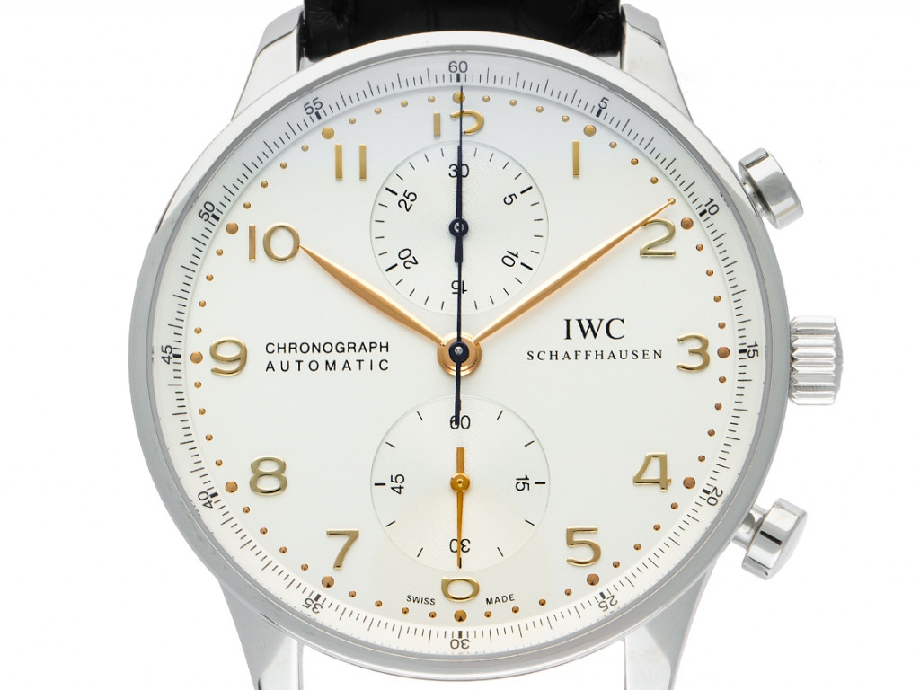IWC Portugieser Chronograph Stahl Automatik Armband Leder Faltschließe 41mm Ref.IW371445 Box&Pap. Full Set Ungetragen mit Zertifikat über 7.600,-€