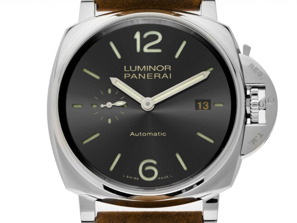 Panerai Luminor Due 3 Days Acciaio Stahl Handaufzug Armband Leder 42mm Ref.PAM00904 Box&Pap. Full Set Ungetragen mit Zertifikat über 6.400,-€