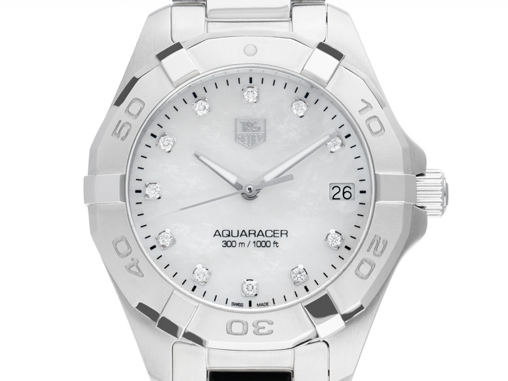 Tag Heuer Aquaracer Stahl Diamanten Perlmutt Quarz Armband Stahl 32mm Ref.WAY1313. Box&Pap. Full Set Ungetragen mit Zertifikat über 2.000,-€
